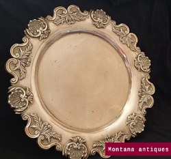 Vintage 20th Old Germany Original Rare Openwork Tray 835 Silver 741gr Marked