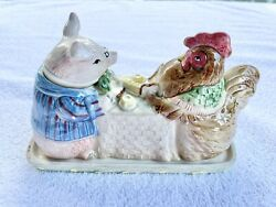 Vintage 1987 Fitz And Floyd Pig Rooster Covered Butter Dish Bacon Eggs Hen Japan