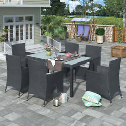 Us 7pcs Outdoor Wicker Dining Table Set Patio Rattan Furniture Set With Cushion
