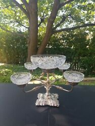 Beautiful Elkington And Co Sheffield English Silver Plate And Cut Crystal Epergne