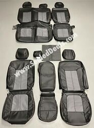 2011 Ford F-150 Xlt Supercrew Custom Black And Gray Leather Seat Covers Red Stitch