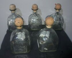 Lot Of 5 Tequila Patron 750 Ml Glass Bottles Empty Crafts And Bar Decor W/ Corks
