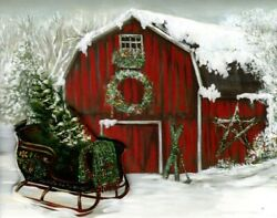 Red Barn Farm And Open Sleigh Sled Christmas Greeting Die-cut Cards - Set Of 14