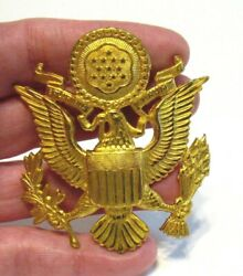 Us Army Dress Cap Hat Buillion Medal Badge 2 1/4 X 2 1/2 Inches Gold Toned