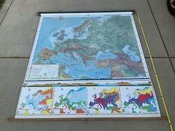 Vintage Nystrom Pull-down School Map 70andrdquo X 62andrdquo