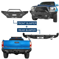 Full Width Front Bumper + Rear Bumper W/ Hitch Receiver Combo Fit 05-15 Tacoma