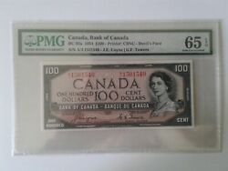 1954 Bank Of Canada 100 Deviland039s Face Bc-35a Coyne-towers Pmg Gem Unc 65