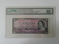 1954, Bank Of Canada 10 Devil's Face Bc-32a Coyne-towers Pmg Gem Unc 65