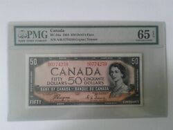 1954 Bank Of Canada 50 Deviland039s Face Bc-34a Coyne-towers Pmg Gem Unc 65