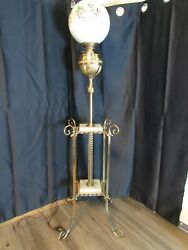 Vintage Rare Ornate Antique Brass And Marble Trays Hand Painted Globe Floor Lamp