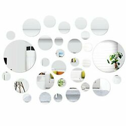 30 Pcs Removable Round Mirror Wall Stickers Self Adhesive Acrylic Circle