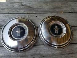 Nice Pair Of Vintage 1967 1968 1969 Ford Mustang Poverty Hubcaps 1970 Dog Dish