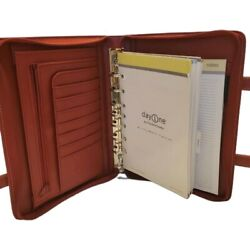 Red Classic Franklin Covey Planner Binder Organizer Retractable Handles Day One