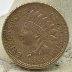 Raw 1859 Indian Head Small Cent Penny 1c Full Liberty Sharp Details