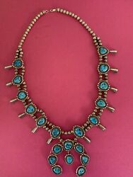 Signed Vintage Navajo Turquoise And Sterling Silver Squash Blossom Necklace