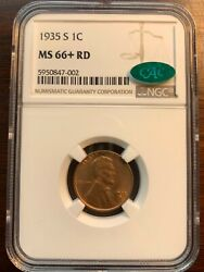 1935-s 1c Rd Lincoln Cent Ngc Gem Uncirculated Ms66+rd Cac Amazing Coin