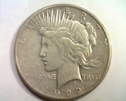 1922-s Peace Silver Dollar Very Fine Vf Nice Original Coin From Bobs Coins
