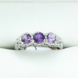 Antique Ring, Natural Amethyst Trilogy, Past Present, Future Ring, Engagement...