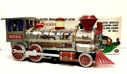 Rare Battery Operated Mystery Action Silver Western Special Locomotive Tin Train