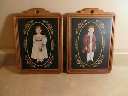 Vintage Arlene Kaminsky Boy And Girl Wooden Pictures Wall Art Victorian