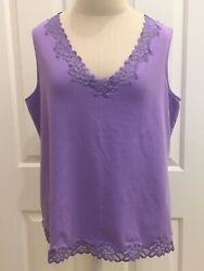 Coldwater Creek - Lace Trimmed V-neck Tank Sleeveless Top - 1x - Lavender