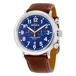 Shinola The Runwell Chronograph Royal Blue Dial Brown Leather Menand039s Watch
