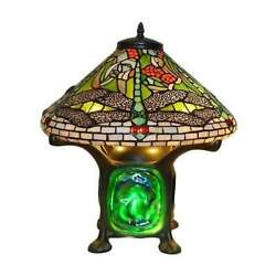 Style Green Dragonfly Accent Table Lamp Turquois Red Stained Glass Shade