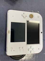 Nintendo 2ds Handheld Console Ftr-001 White And Red W/ Charger Wap-002 Tested