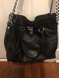 Large Black Leather Hamilton Bag With Silver Lock And Key Hardware