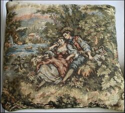 Vintage Tapestry Throw pillow man woman stream river