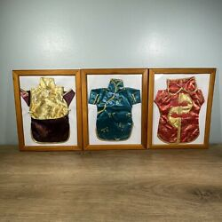 Lot Of 3 Chinese Dresses In Frames One Of A Kind