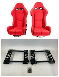 Pair 2 F1spec R1 Red Cloth Racing Reclinable Seats With Sliders Ek9 96-00