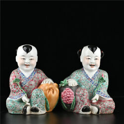 28 Cm China Wucai Porcelain Statue Old Pottery Boys And Girls Statue