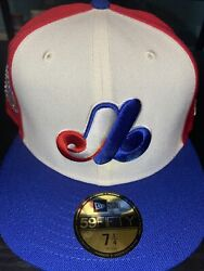 7 1/2 Montreal Expos Off White 1982 All Star Game Crystals Icy Blue Fitted Hat