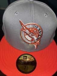 7 1/2 Florida Marlins Grey/infrared 1993 Inaugural Year Grey Bottom Fitted Hat