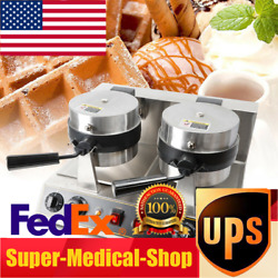 Dual Head Rotating Waffle Maker Commercial Nonstick Round Lattice Thicken Waffle