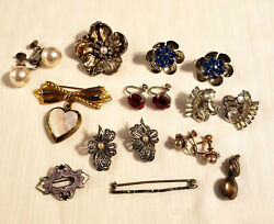Antique Vintage Sterling Silver Jewelry All Marked See Description