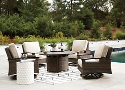 Ashley Furniture Paradise Trail 5 Piece Round Fire Pit Outdoor Patio Swivel Set