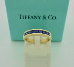 Vintage And Co. Sapphire Half Eternity 18k Yellow Gold Band Ring Us6 Rare