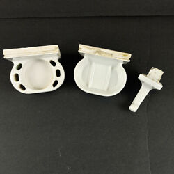 Vintage Used Lot Of 4 White Ceramic Tile Wall Mount Soap And Toothbrush Towel Hook