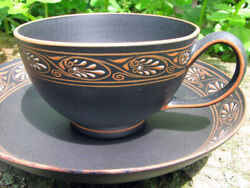 Wedgwood 1775-85 Basalt Encaustic Painted Anthemion Ornament Cup/saucer Museum.