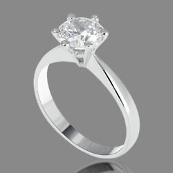 1.13 Ct Real Round Cut Diamond Engagement Ring 14k White Gold F/vs2-si1