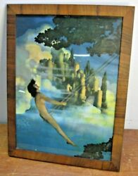 Original Antique Vintage 1905 Framed Maxfield Parrish Where The Dinky Bird Is