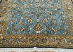 Antique Kashann W00l And Silk Floral Hand Made Oriental Rug Hand-washed 4.8 X 7