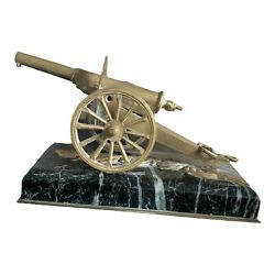 Vintage Brass Desk Cannon With Marble Base