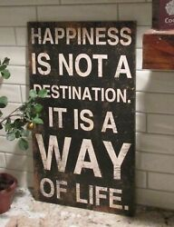 Wood Wall Happiness Signprimitive/french Country Farmhouseblack And White Decor