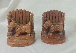 2 vintage Syroco Wood Scottie Terrier Dog Bookends 4.5quot;x 5.5quot;