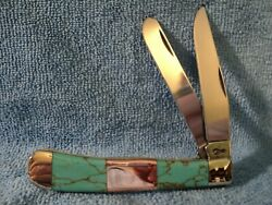 Case Knife Trapper With Custom Turquoise Copper Handles