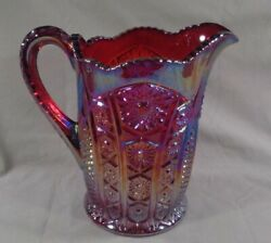 Electric Blue Over Red Orange Imperial Carnival Glass Diamond Hobstar Pitcher