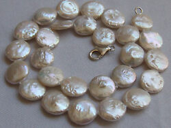 Cultured Freshwater Pearl Choke Necklace Keshi Coin Necklace Button E15